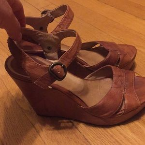 Frye brown leather wedges size 8